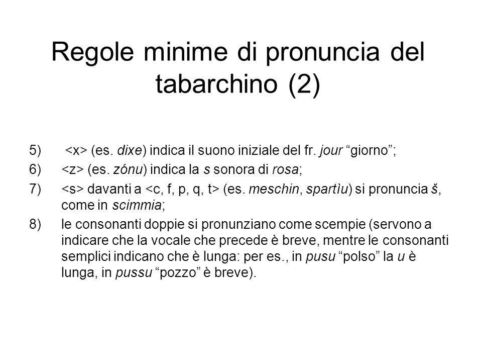Regole minime di pronuncia del tabarchino (2) 5) (es. dixe) indica il suono iniziale del fr. jour giorno; 6) (es. zónu) indica la s sonora di rosa; 7)