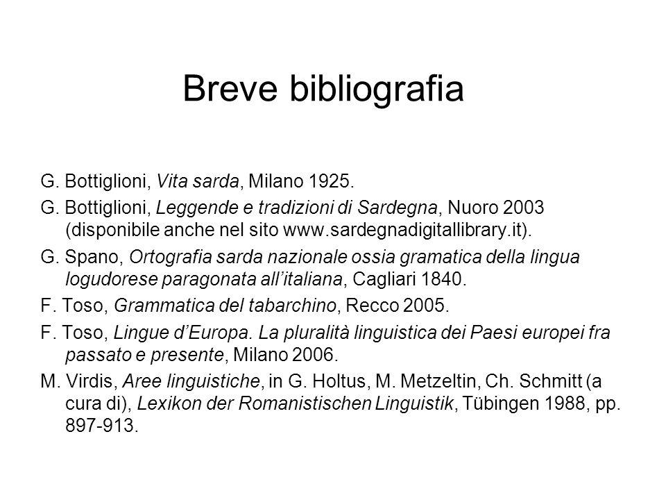 Breve bibliografia G. Bottiglioni, Vita sarda, Milano 1925. G. Bottiglioni, Leggende e tradizioni di Sardegna, Nuoro 2003 (disponibile anche nel sito