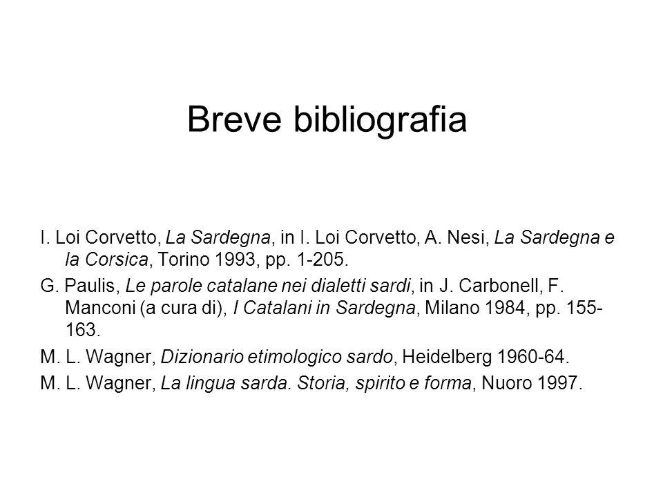 Breve bibliografia I.Loi Corvetto, La Sardegna, in I.