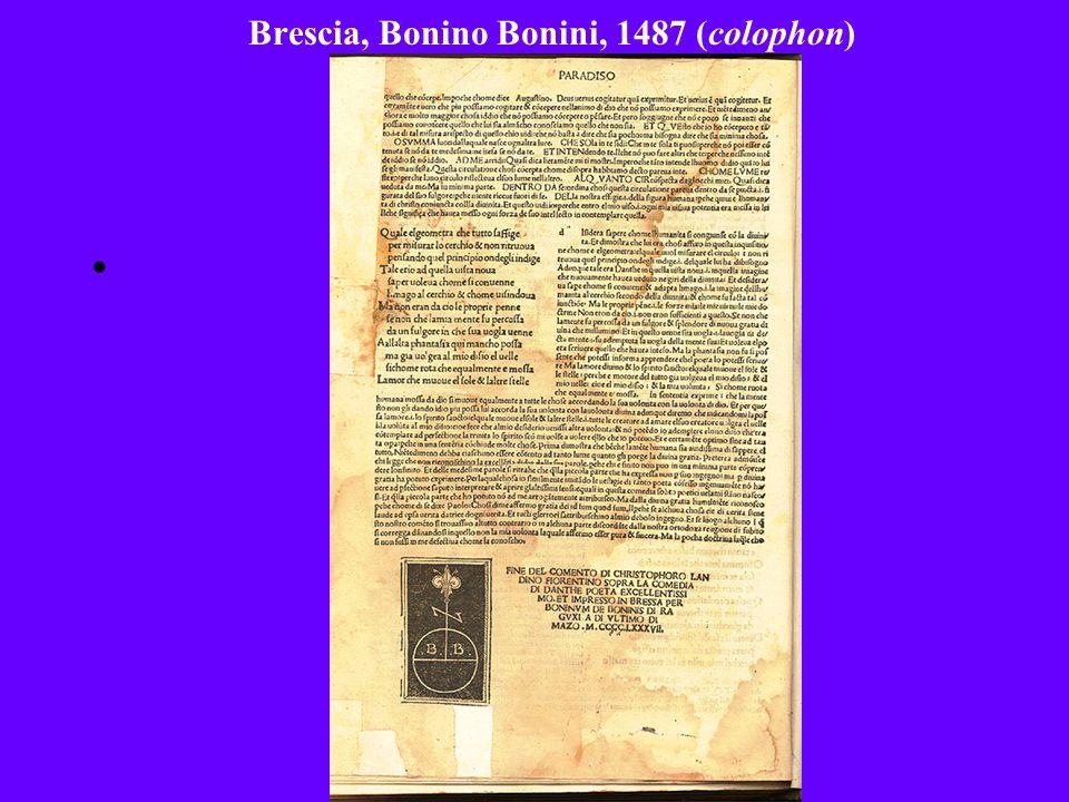 Brescia, Bonino Bonini, 1487 (colophon)