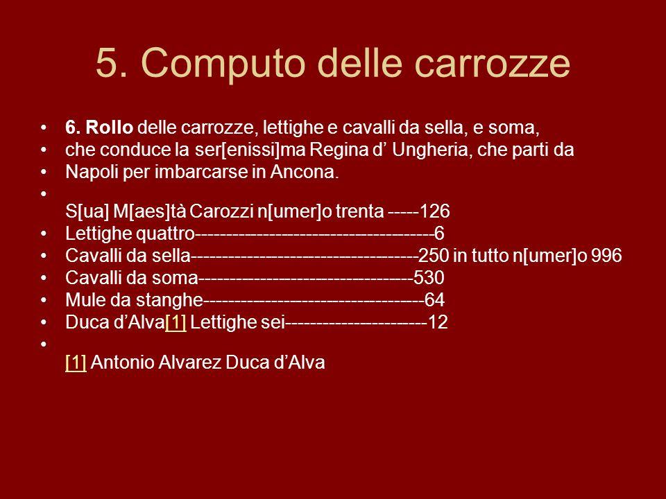 5. Computo delle carrozze 6.