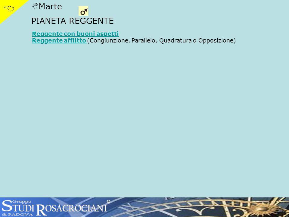 Marte PIANETA REGGENTE Reggente con buoni aspetti Reggente afflitto Reggente afflitto (Congiunzione, Parallelo, Quadratura o Opposizione) ©