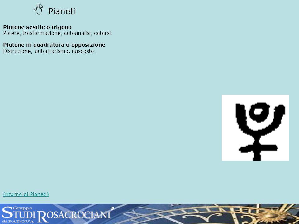 Pianeti Plutone sestile o trigono Potere, trasformazione, autoanalisi, catarsi.