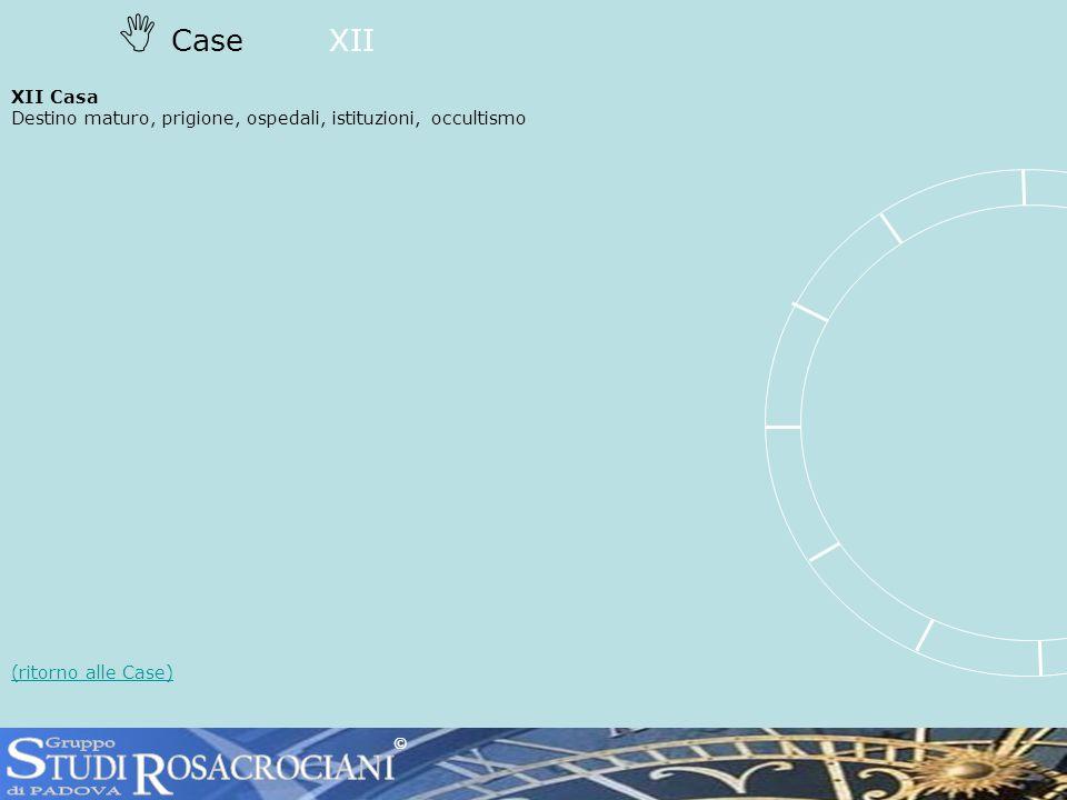 CaseXII XII Casa Destino maturo, prigione, ospedali, istituzioni, occultismo (ritorno alle Case) ©