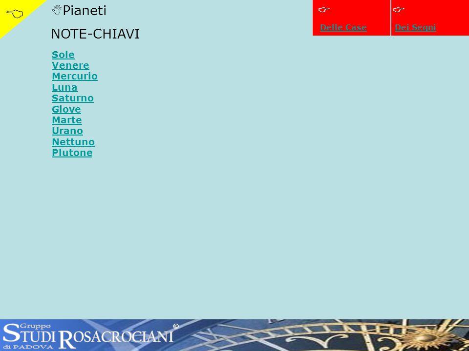 Pianeti NOTE-CHIAVI Dei Segni Sole Venere Mercurio Luna Saturno Giove Marte Urano Nettuno Plutone © Delle Case