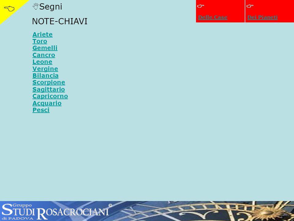 Segni NOTE-CHIAVI Dei Pianeti Ariete Toro Gemelli Cancro Leone Vergine Bilancia Scorpione Sagittario Capricorno Acquario Pesci © Delle Case