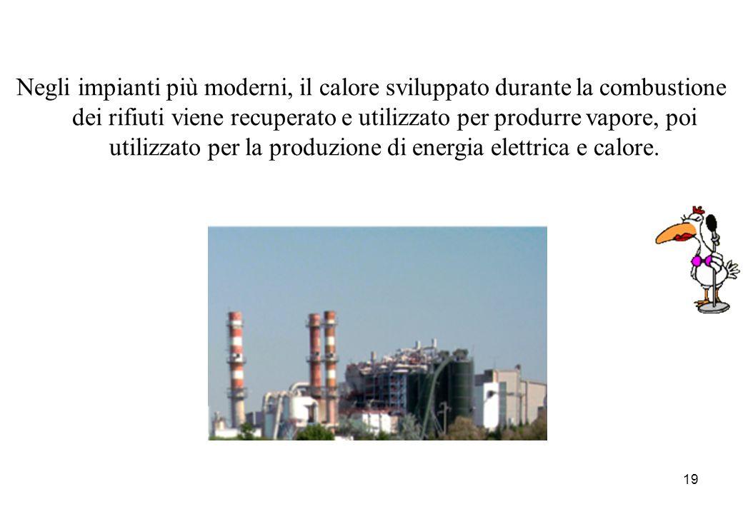 19 Negli impianti più moderni, il calore sviluppato durante la combustione dei rifiuti viene recuperato e utilizzato per produrre vapore, poi utilizza