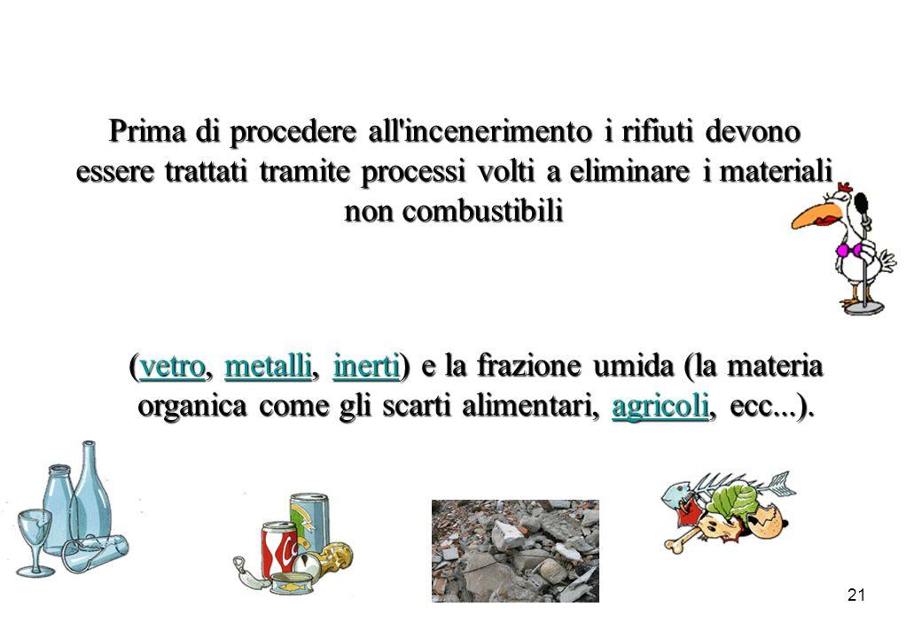 21 Prima di procedere all'incenerimento i rifiuti devono essere trattati tramite processi volti a eliminare i materiali non combustibili (vetro, (vetr
