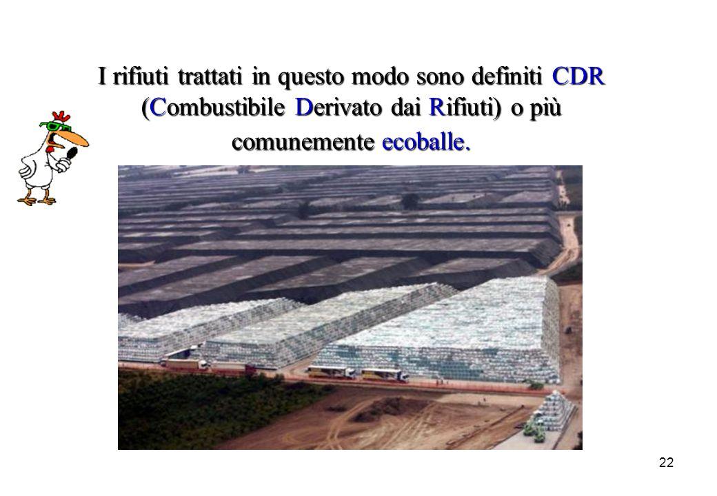 22 I rifiuti trattati in questo modo sono definiti CDR (Combustibile (Combustibile Derivato Derivato dai Rifiuti) Rifiuti) o più comunemente ecoballe.