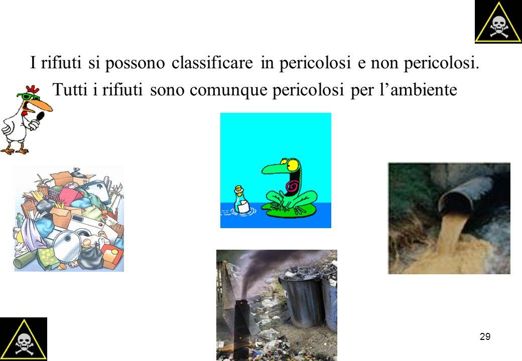 29 I rifiuti si possono classificare in pericolosi e non pericolosi. Tutti i rifiuti sono comunque pericolosi per lambiente