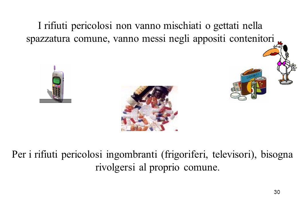 30 Per i rifiuti pericolosi ingombranti (frigoriferi, televisori), bisogna rivolgersi al proprio comune. I rifiuti pericolosi non vanno mischiati o ge