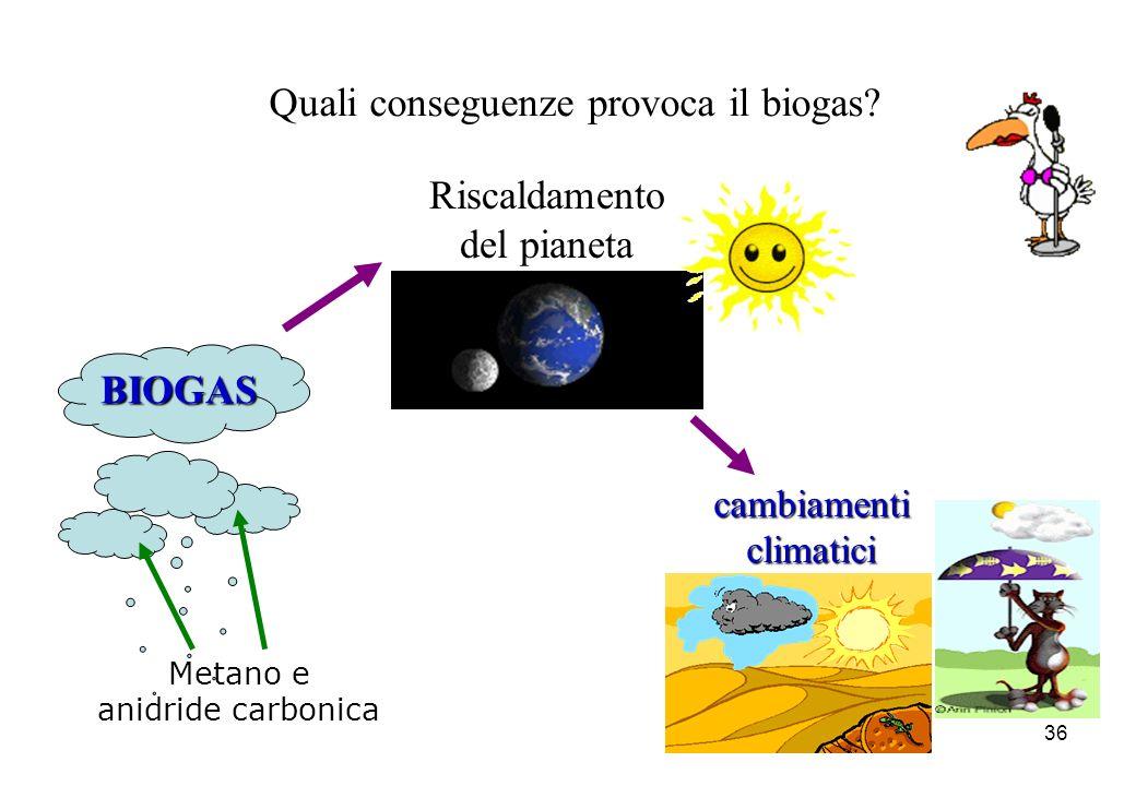 36 Quali conseguenze provoca il biogas? Riscaldamento del pianeta Metano e anidride carbonica cambiamenticlimatici BIOGAS