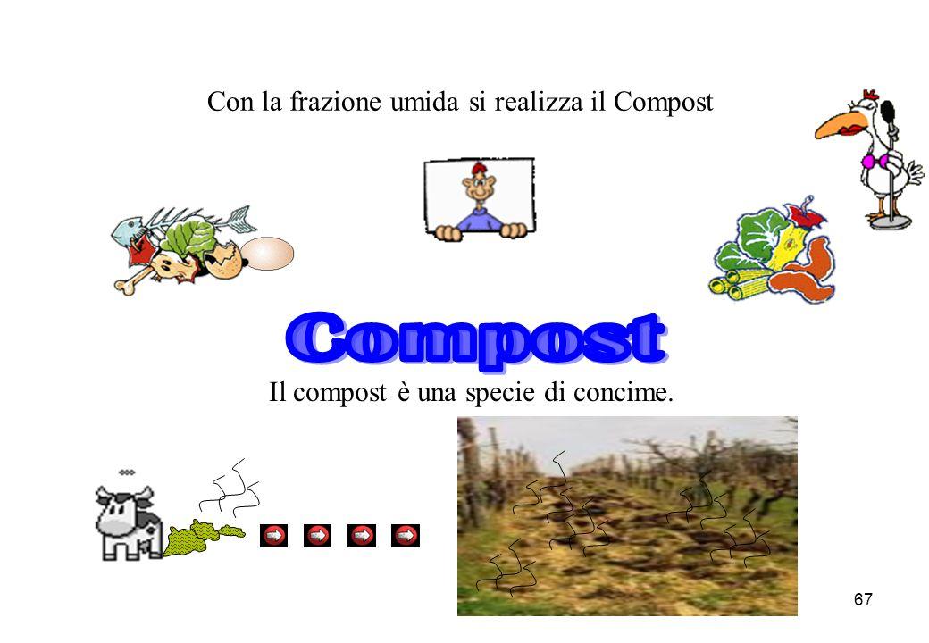 67 Con la frazione umida si realizza il Compost Il compost è una specie di concime.