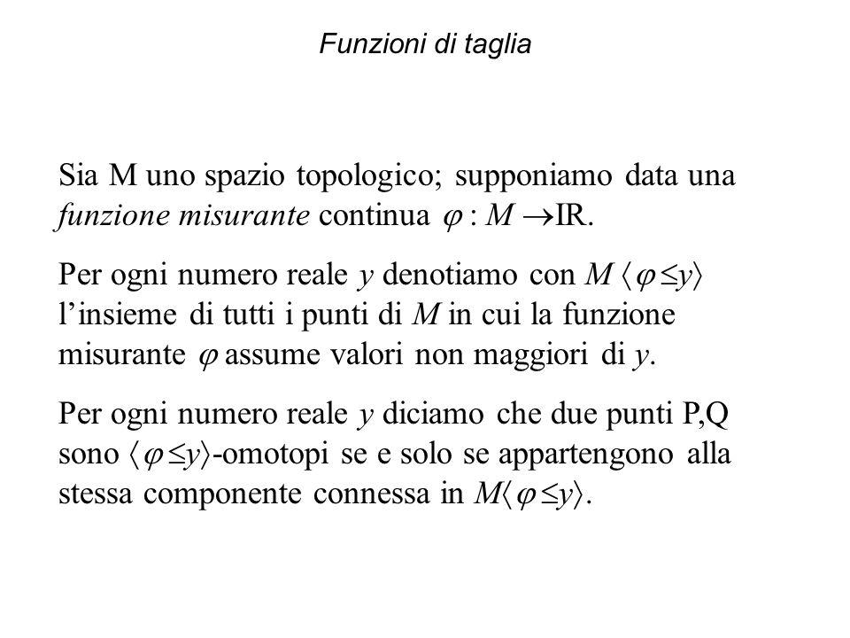 Funzioni di taglia Sia M uno spazio topologico; supponiamo data una funzione misurante continua : M IR.