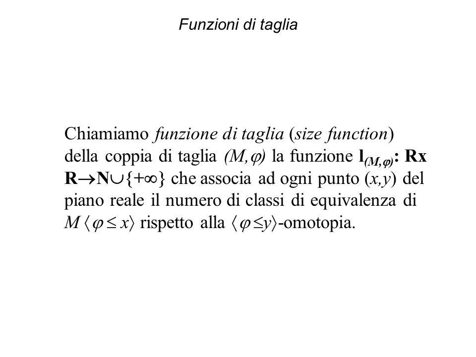 Funzioni di taglia Chiamiamo funzione di taglia (size function) della coppia di taglia (M, ) la funzione l (M, ) : Rx R N + che associa ad ogni punto (x,y) del piano reale il numero di classi di equivalenza di M x rispetto alla y -omotopia.