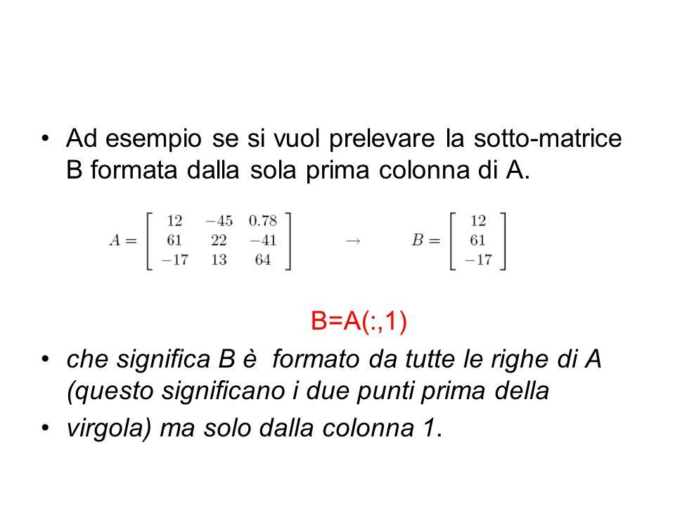 Ad esempio se si vuol prelevare la sotto-matrice B formata dalla sola prima colonna di A. B=A(:,1) che significa B è formato da tutte le righe di A (q