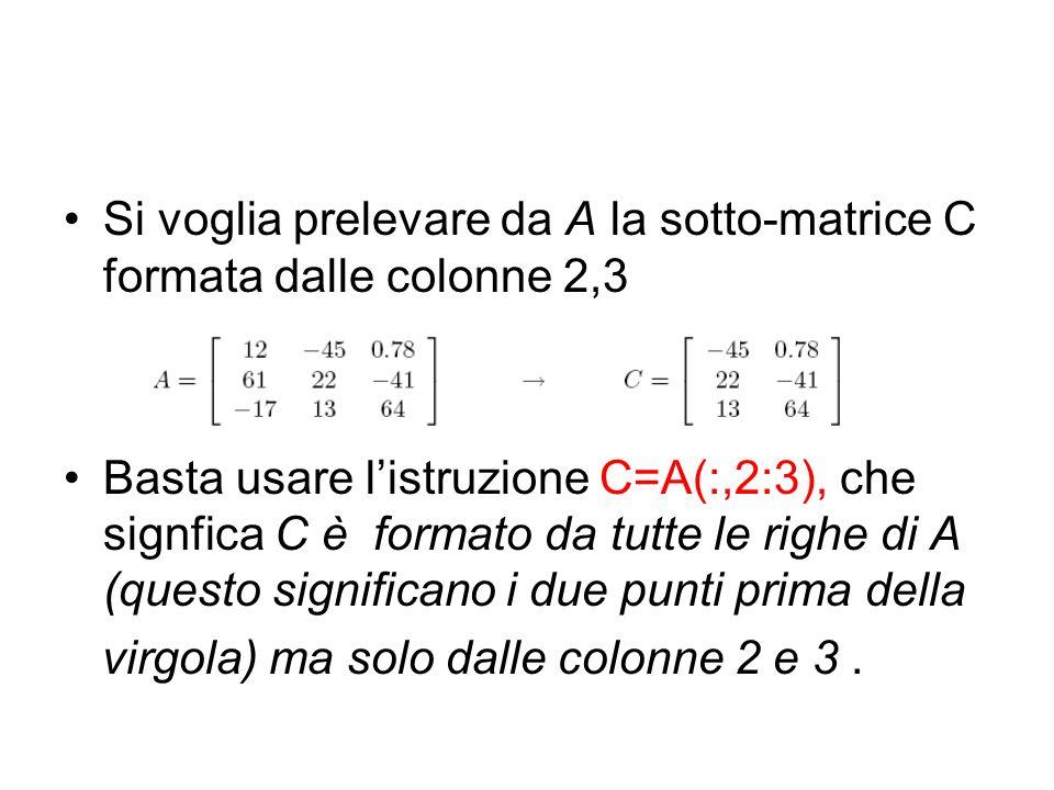 Si voglia prelevare da A la sotto-matrice C formata dalle colonne 2,3 Basta usare listruzione C=A(:,2:3), che signfica C è formato da tutte le righe d