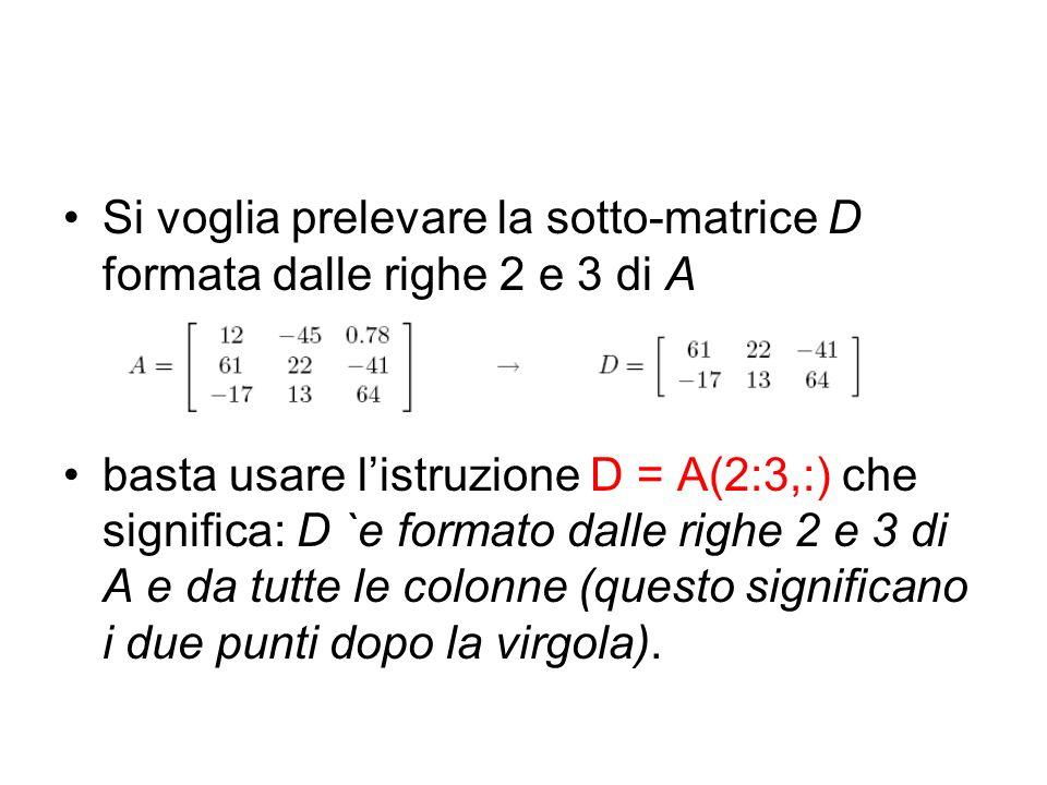 Si voglia prelevare la sotto-matrice D formata dalle righe 2 e 3 di A basta usare listruzione D = A(2:3,:) che significa: D `e formato dalle righe 2 e
