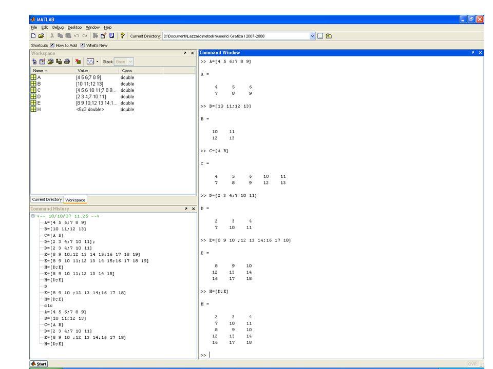 QUARTO modo: Una matrice può essere creata anche accorpando più matrici che devono avere ugual numero di righe: C=[ A B] o di colonne D=[A;B]