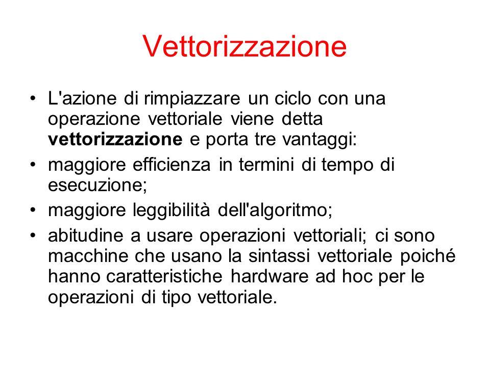 Vettorizzazione L'azione di rimpiazzare un ciclo con una operazione vettoriale viene detta vettorizzazione e porta tre vantaggi: maggiore efficienza i
