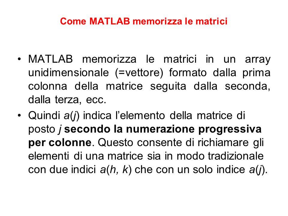 Come MATLAB memorizza le matrici MATLAB memorizza le matrici in un array unidimensionale (=vettore) formato dalla prima colonna della matrice seguita