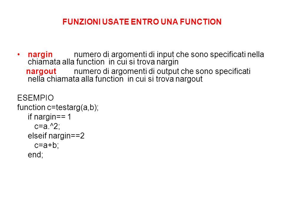 FUNZIONI USATE ENTRO UNA FUNCTION narginnumero di argomenti di input che sono specificati nella chiamata alla function in cui si trova nargin nargoutn