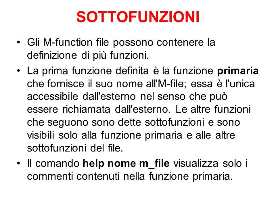 SOTTOFUNZIONI Gli M-function file possono contenere la definizione di più funzioni. La prima funzione definita è la funzione primaria che fornisce il
