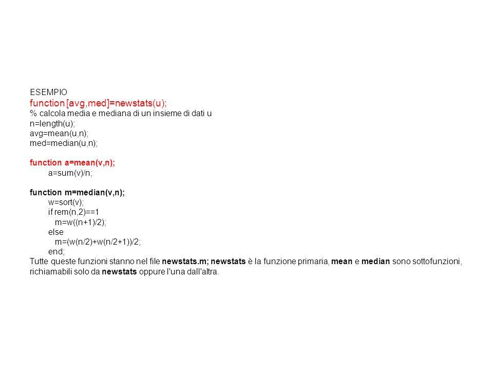 ESEMPIO function [avg,med]=newstats(u); % calcola media e mediana di un insieme di dati u n=length(u); avg=mean(u,n); med=median(u,n); function a=mean