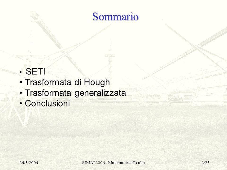 26/5/2006SIMAI 2006 - Matematica e Realtà2/25 Sommario SETI Trasformata di Hough Trasformata generalizzata Conclusioni