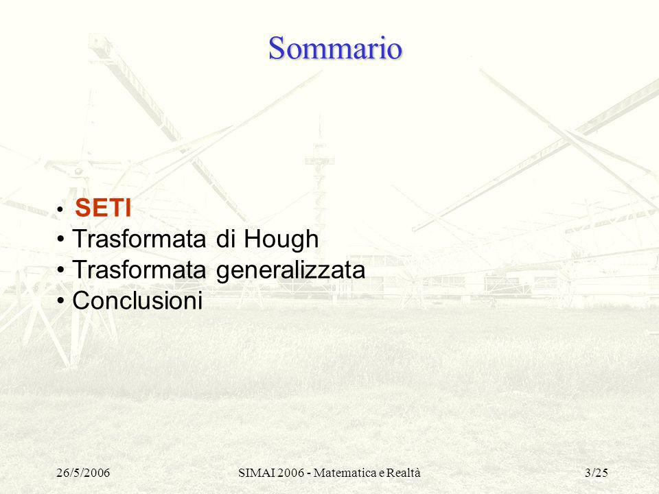 26/5/2006SIMAI 2006 - Matematica e Realtà24/25 Sommario SETI Trasformata di Hough Trasformata generalizzata Conclusioni