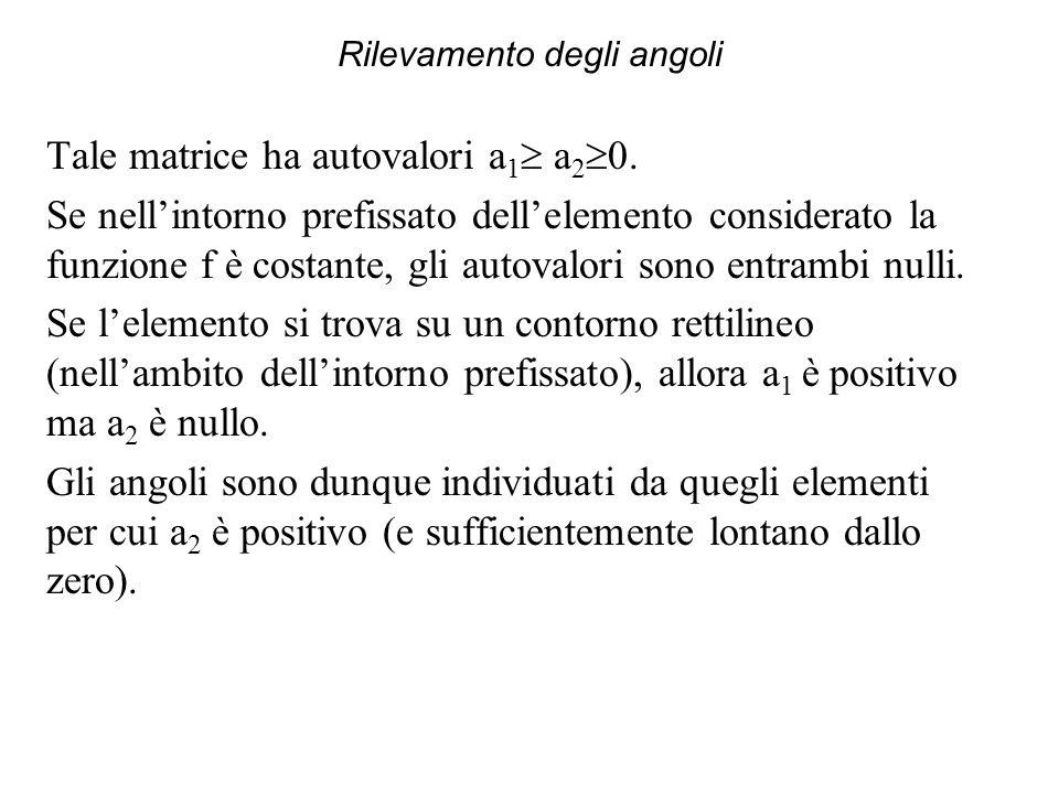 Rilevamento degli angoli Tale matrice ha autovalori a 1 a 2 0. Se nellintorno prefissato dellelemento considerato la funzione f è costante, gli autova