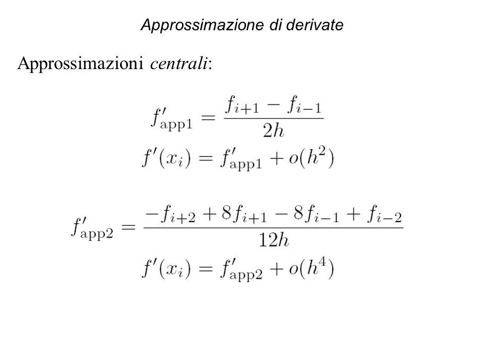 Approssimazione di derivate Approssimazioni centrali: