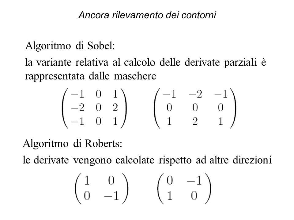 Ancora rilevamento dei contorni Algoritmo di Sobel: la variante relativa al calcolo delle derivate parziali è rappresentata dalle maschere Algoritmo d