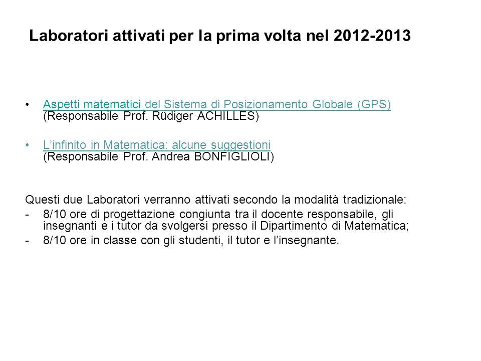 Laboratori attivati per la prima volta nel 2012-2013 Aspetti matematici del Sistema di Posizionamento Globale (GPS) (Responsabile Prof. Rüdiger ACHILL