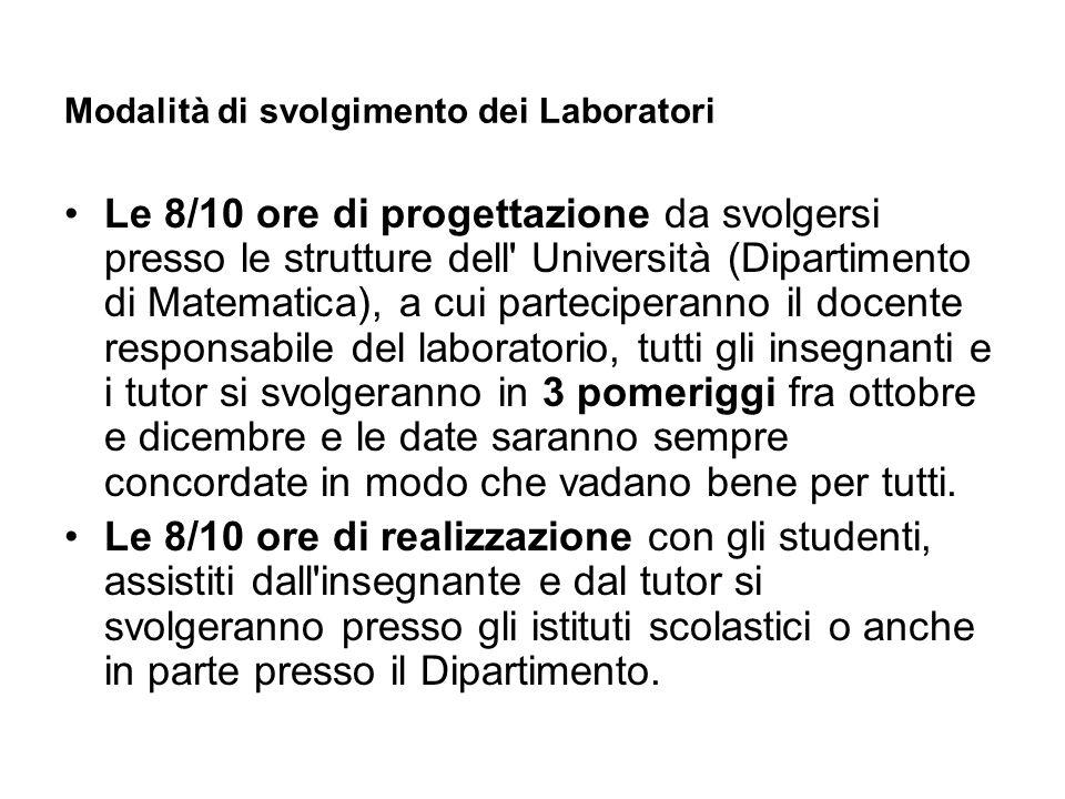 Modalità di svolgimento dei Laboratori Le 8/10 ore di progettazione da svolgersi presso le strutture dell' Università (Dipartimento di Matematica), a
