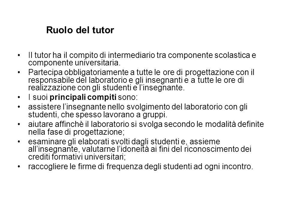 Ruolo del tutor Il tutor ha il compito di intermediario tra componente scolastica e componente universitaria. Partecipa obbligatoriamente a tutte le o