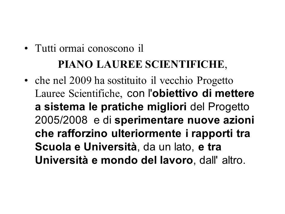 Tutti ormai conoscono il PIANO LAUREE SCIENTIFICHE, che nel 2009 ha sostituito il vecchio Progetto Lauree Scientifiche, con l'obiettivo di mettere a s