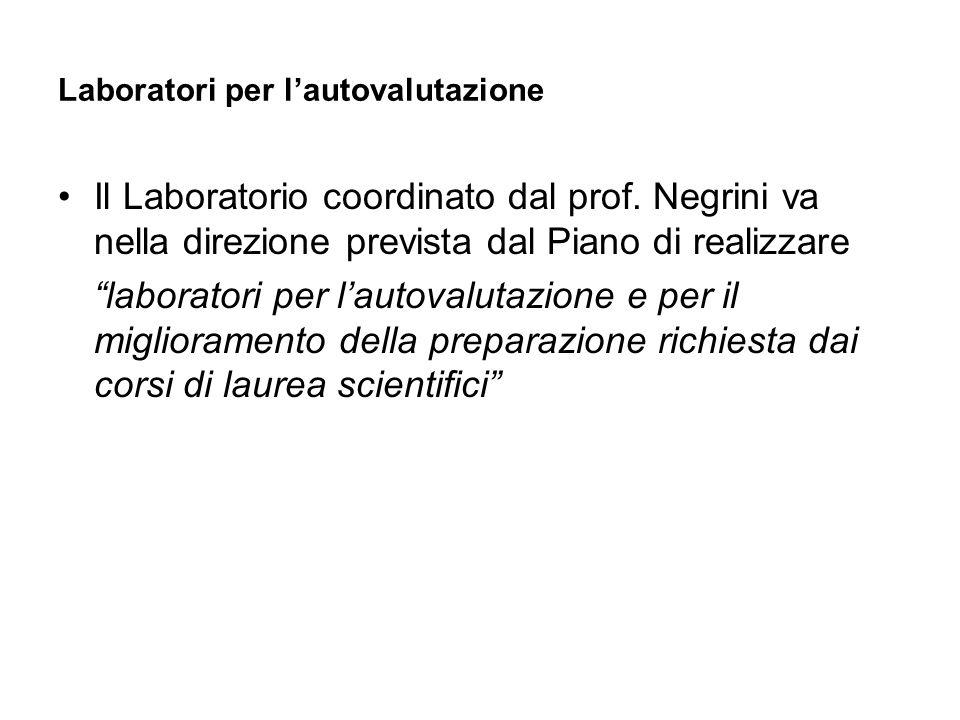 Laboratori per lautovalutazione Il Laboratorio coordinato dal prof. Negrini va nella direzione prevista dal Piano di realizzare laboratori per lautova
