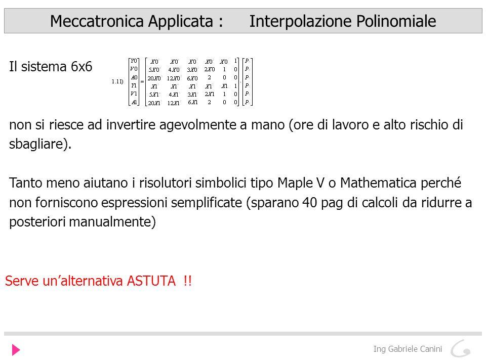 Meccatronica Applicata : Interpolazione Polinomiale Ing Gabriele Canini Serve unalternativa ASTUTA !.