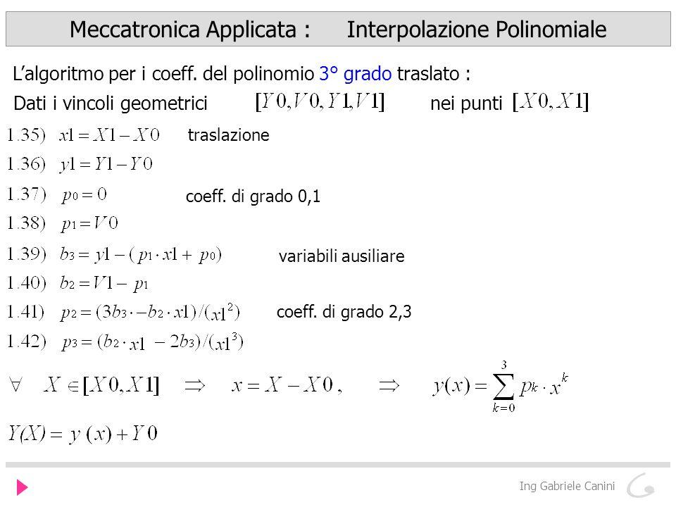 Meccatronica Applicata : Interpolazione Polinomiale Ing Gabriele Canini Lalgoritmo per i coeff.