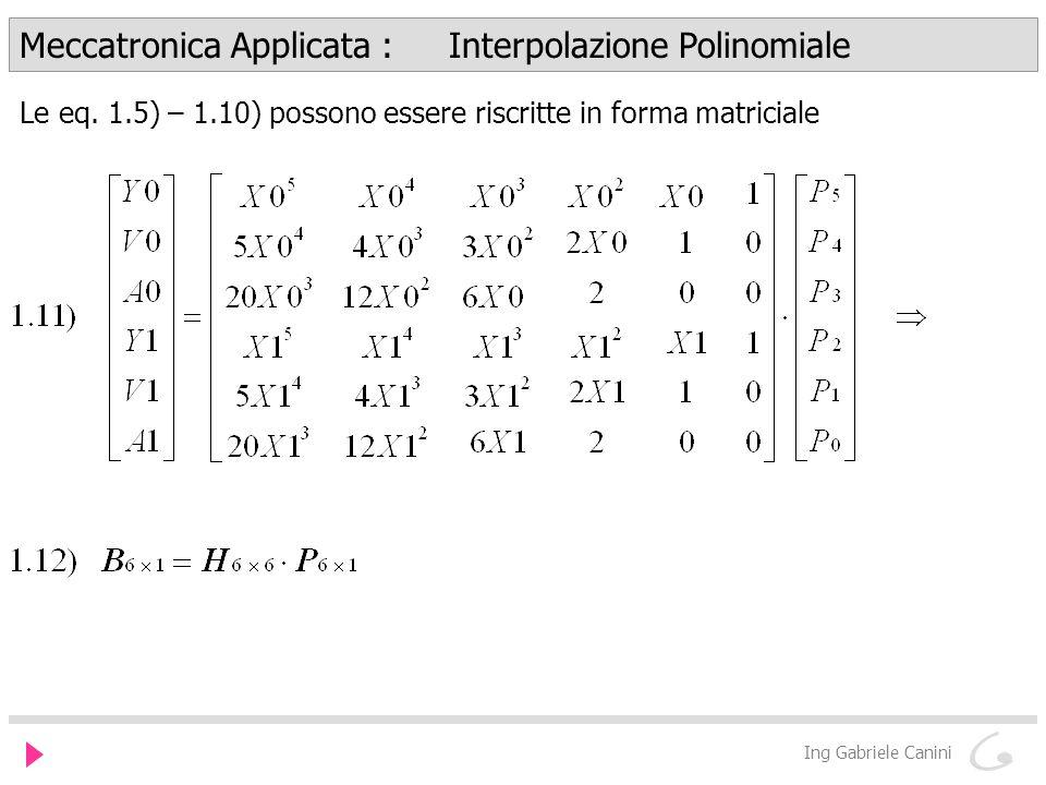 Meccatronica Applicata : Interpolazione Polinomiale Ing Gabriele Canini Le eq.