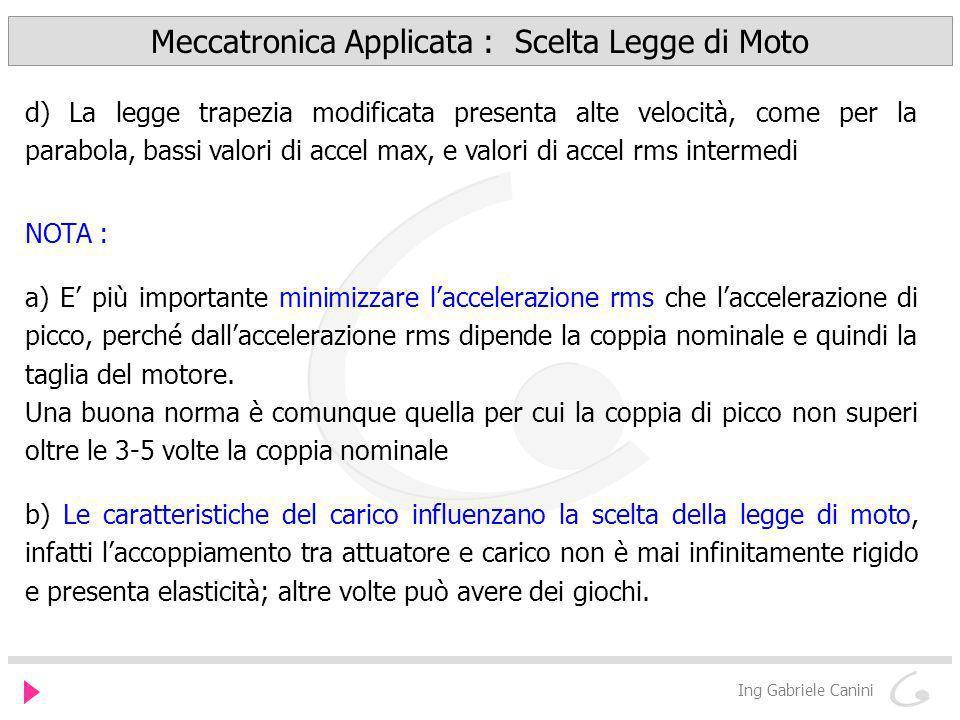 Meccatronica Applicata : Scelta Legge di Moto Ing Gabriele Canini d) La legge trapezia modificata presenta alte velocità, come per la parabola, bassi