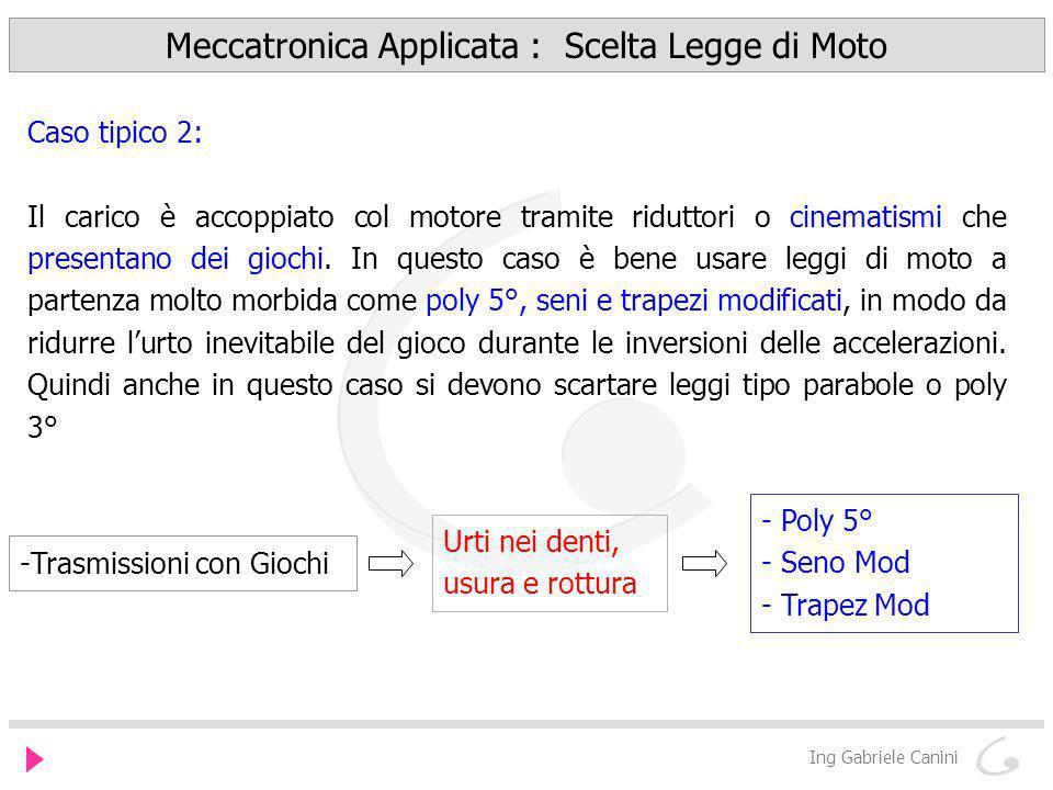 Meccatronica Applicata : Scelta Legge di Moto Ing Gabriele Canini Caso tipico 2: Il carico è accoppiato col motore tramite riduttori o cinematismi che