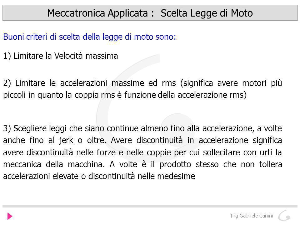 Meccatronica Applicata : Scelta Legge di Moto Ing Gabriele Canini Buoni criteri di scelta della legge di moto sono: 1) Limitare la Velocità massima 2)