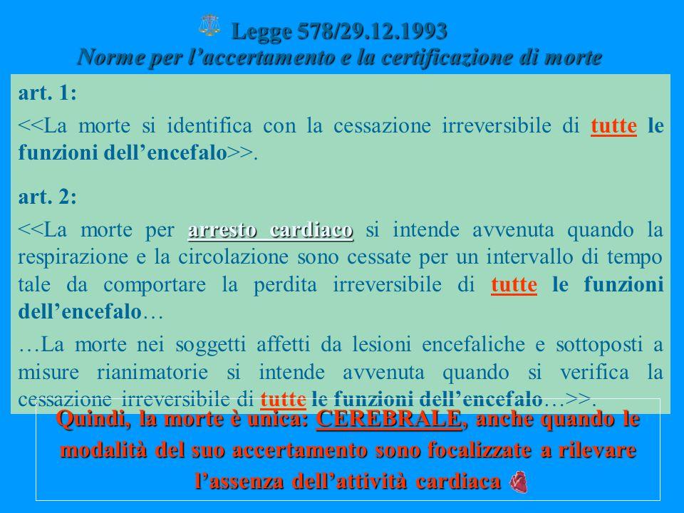 Legge 578/29.12.1993 Norme per laccertamento e la certificazione di morte art. 1: >. art. 2: arresto cardiaco <<La morte per arresto cardiaco si inten