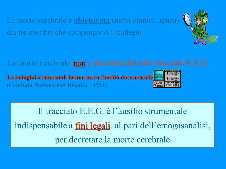 La morte cerebrale è obiettivata (nervi cranici, apnea) dai tre membri che compongono il collegio fini legali Il tracciato E.E.G.