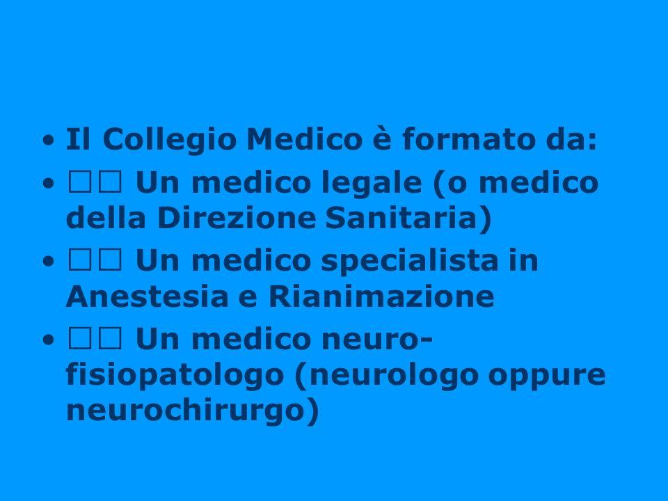 Il Collegio Medico è formato da: Un medico legale (o medico della Direzione Sanitaria) Un medico specialista in Anestesia e Rianimazione Un medico neu