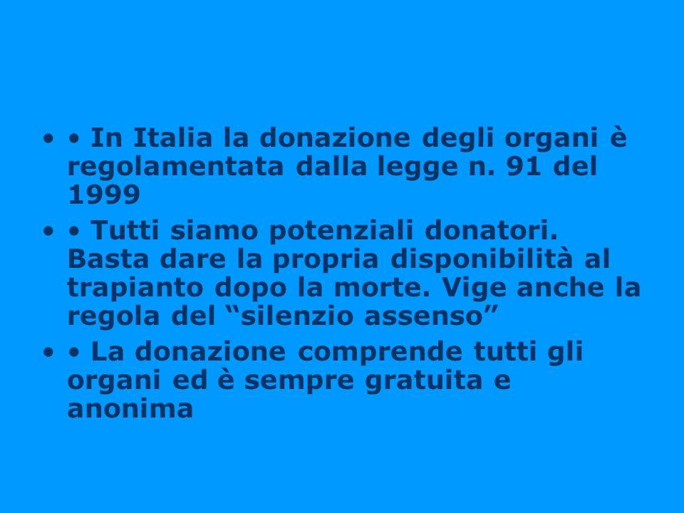In Italia la donazione degli organi è regolamentata dalla legge n. 91 del 1999 Tutti siamo potenziali donatori. Basta dare la propria disponibilità al