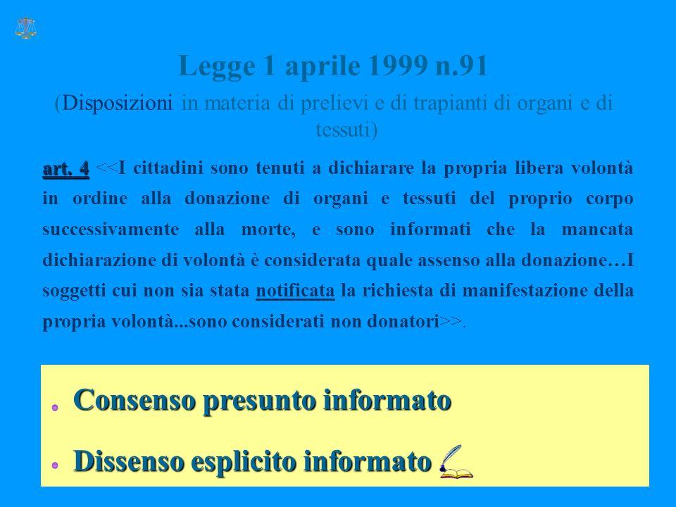 Legge 1 aprile 1999 n.91 (Disposizioni in materia di prelievi e di trapianti di organi e di tessuti) Consenso presunto informato Dissenso esplicito informato art.
