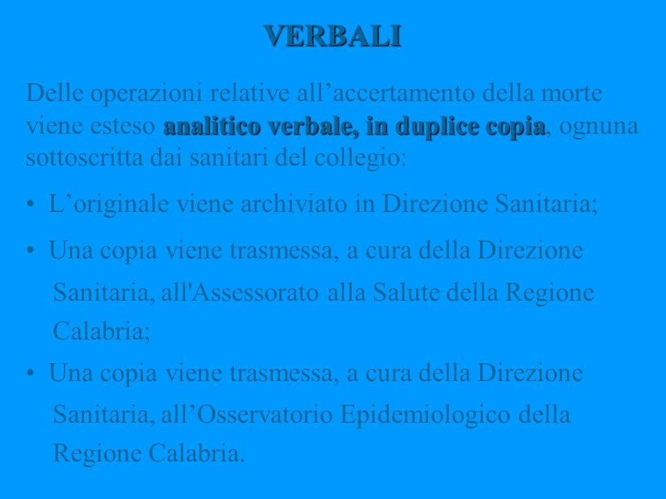 VERBALI analitico verbale, in duplice copia Delle operazioni relative allaccertamento della morte viene esteso analitico verbale, in duplice copia, og